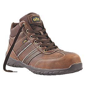 Site Grit Safety Boots Brown Size 10