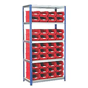 Barton Ecorax Shelving 900 x 450mm 5 Shelves with 40 x TC4 Red