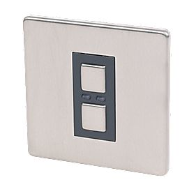 1-Gang 1-Way Dimmer Switch Stainless Steel with Black Insert 250W