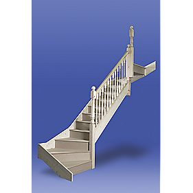 Stairways Chamfered Bottom Double Winder Staircase LH White
