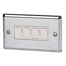 Volex 10A 4-Gang 2-Way Switch Wht Ins PC Angled