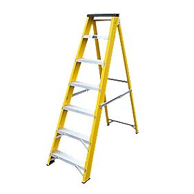 Lyte GFBB7 Swingback Builders Step Ladder Fibreglass 7-Tread 1.44m