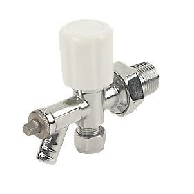 Angled Radiator Valve & Drain Off 10mm x ½""