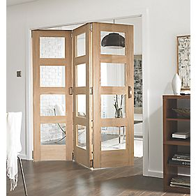 Jeld-Wen Softwood 3-Door Folding Room Divider Oak Veneer 1939 x 2044mm