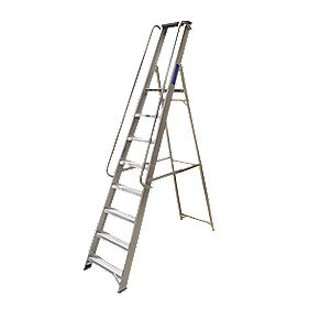 Lyte Heavy Duty Platform Ladder & Safety Handrails Aluminium 8 Treads 2.31m