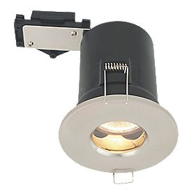 LAP Round Mains Voltage Fire Rated Downlight IP44 Brushed Chrome Eff. 240V