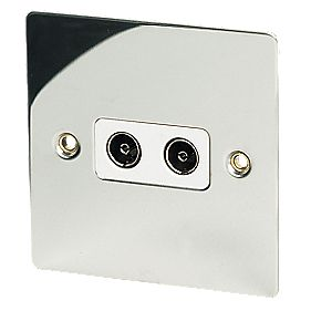 Volex Twin TV Socket Polished Chrome Flat Plate