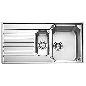 Franke Square Inset Sink Stainless Steel Bowl & Reversible Drainer 1000 x 510mm