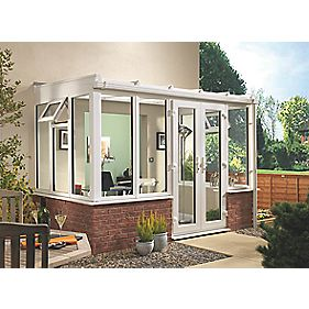 T2 Traditional uPVC Conservatory White 2.53 x 18.6 x 2.33m