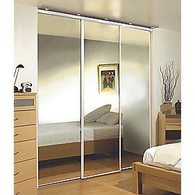 3 Door Wardrobe Doors White Frame Mirror Panel 2600 x 2330mm