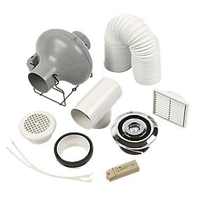 Manrose Pro 2-Point Showerlite 35W Centrifugal Shower Fan Kit Chrome 4""