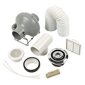 Manrose Pro Showerlite Centrifugal Shower Fan Kit Chrome 100mm