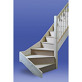 Bottom 3 Tread Turned Winder Staircase LH White