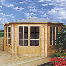 Shire Alcala Solid Sheet Log Cabin 2.9 x 2.9 x 2.9m