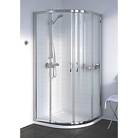 Aqualux Shine Quadrant Shower Enclosure Sliding Door Silver 900mm