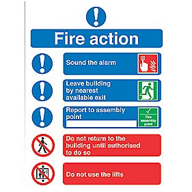 """Fire Action"" Notice Signs 230 x 172mm Pack of 50"