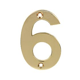 Door Numeral No. 6 or 9 Polished Brass Effect 75mm