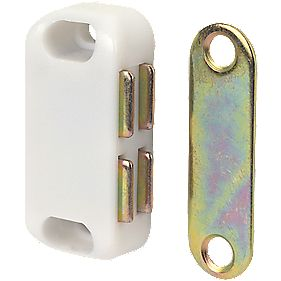 Magnetic White Cabinet Catch 42mm Pack of 10