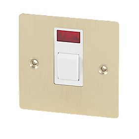 Volex 20A DP Switch + Neon Wht Ins Brushed Br Flt Plt
