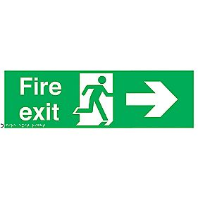 "Braille ""Fire Exit"" Right Arrow Sign 150 x 150mm"