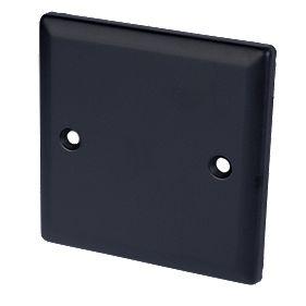 Volex 1-Gang Blank Plate Matt Black Angled Edge