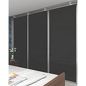 3 Door Sliding Wardrobe Doors Silver Frame Black Glass Panel 2660 x 2330mm
