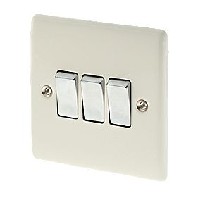 British General 3-Gang 2-Way 10AX Light Switch Cream