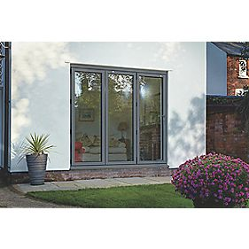 Spaceslide Bi-Fold Double-Glazed Patio Door RH Grey 2394 x 2094mm