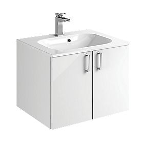 Bathroom Double Base Vanity Unit & Basin White Slab 600 x 480 x 440mm