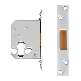 "Securefast Euro Cylinder Deadlock Satin Chrome Plated 2½""(64mm) Backset"