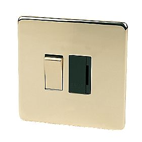 Crabtree 13A Sw FCU Polished Brass Flat Plate
