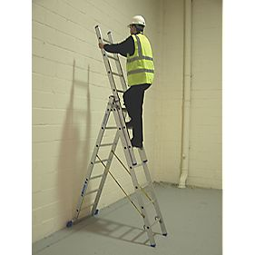 Zarges 41097 Aluminium Combination Ladder 3 x 7 Rungs 5m