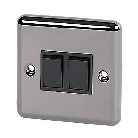 Volex 10A 2-Gang 2-Way Switch Blk Ins Black Nickel Round Edge