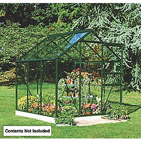 "Halls Popular Greenhouse Green Toughened Glass 3'6"" x 5'10"" x 6'3"""