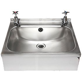 Franke WB18 Square Wall-Hung Washbasin & Crosshead Taps Stainless Steel 1 Bowl & 457 x 156mm