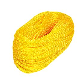 Hollow Braided Polypropylene Rope Yellow 6mm x 30.5m