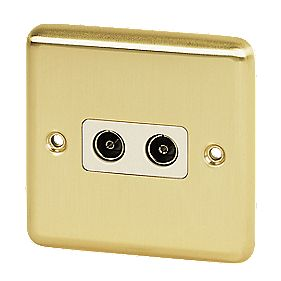Volex Twin TV Socket Wht Ins Brushed Brass Round Edge