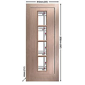 Jeld-Wen Lenzie 4-Light Glazed Exterior Door Oak Veneer Glazed 813 x 2032mm