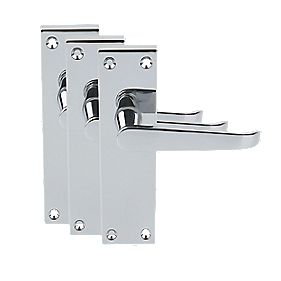 Victorian Short Backplate Straight Door Handles Polished Chrome Pk3