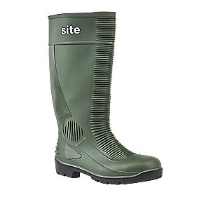 Site Trench Safety Wellington Boots Green Size 10