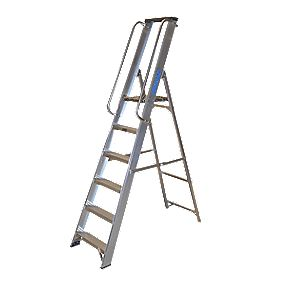 Lyte Heavy Duty Platform Ladder & Safety Handrails Aluminium 6 Treads 1.91m
