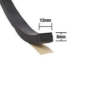Extra Thick Weatherstrip 10mm x 7m Black