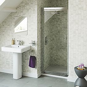 Swirl Pivot Shower Door Polished Silver 900mm
