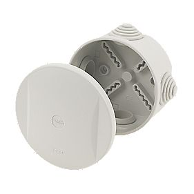 Round 4-Terminal Junction Box with Knockouts Grey 85mm