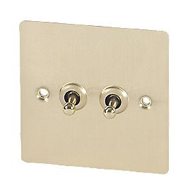 Volex 2-Gang 2-Way Toggle Switch Brushed Brass Flat Plate