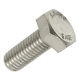 A4 Stainless Steel Hex Head Set Screw M10 x 25mm Pack of 10