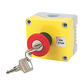 Hylec 1-Way A-Lock Mushroom Head Stop Push Button with Key Reset