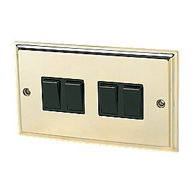 4-Gang 2-Way Switch Victorian Brass