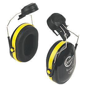 JSP InterGP Safety Helmet Mounted Ear Defenders 25dBA Black / Yellow