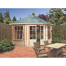 Alcala Solid Sheet Log Cabin Assembly Included 2.9 x 2.9 x 2.9m